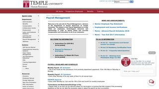 Human Resources / Payroll Management - Temple University