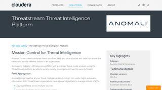 Threatstream Threat Intelligence Platform | Cloudera