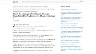 What's the pricing model of Naukri, Monster, TimesJobs, IIMJobs ...