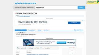 timzone.com at WI. Login   TimZone - Website Informer