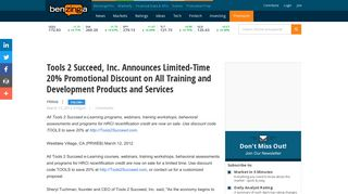 Tools 2 Succeed, Inc. Announces Limited-Time 20% Promotional ...