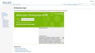 Enterprise login - Galen Healthcare Solutions - Allscripts TouchWorks ...