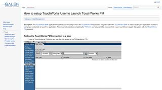 How to setup TouchWorks User to Launch TouchWorks PM - Galen wiki