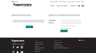 Sign in to an existing account - Tupperware