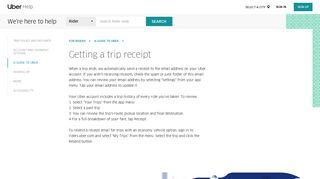Getting a trip receipt   Uber Rider Help