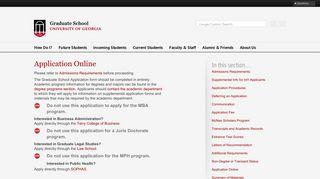 UGA Grad Studies   Application Online