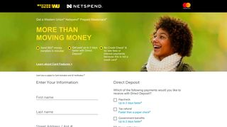 Sign Up Now | Western Union Netspend Prepaid Mastercard