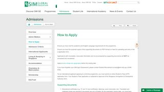 University Admissions - How to Apply | SIM Global Education
