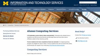 Alumni Computing Services - U-M ITS - University of Michigan