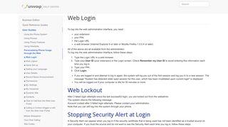 Web Login - UniVoIP Help Center