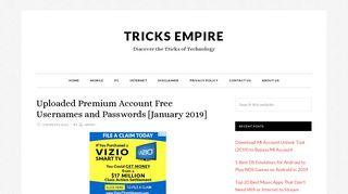 Uploaded Premium Account Free Usernames and Passwords (2019)
