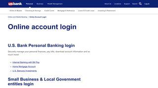 Online Account Login   U.S. Bank