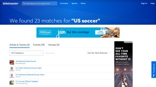 Find tickets for 'US soccer' at Ticketmaster.com