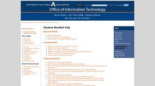 Student MavMail FAQ - UT Arlington Office of Information Technology