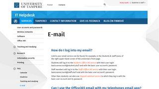 E-mail   IT Helpdesk - Tampereen yliopisto