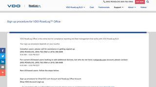 Sign up procedure for VDO RoadLog™ Office - VDO RoadLog