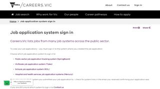 Job application system sign in - Careers.Vic