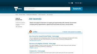 Job vacancies | Victorian Government