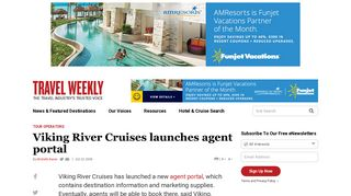 Viking River Cruises launches agent portal: Travel Weekly