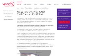 New Booking and Check-in System | Velocity Frequent Flyer