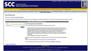 Virginia State Corporation Commission - eFiling System - Login