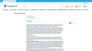 Vistaprint Privacy & Security