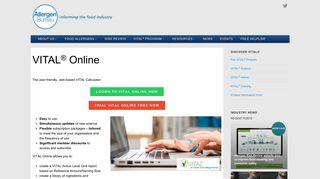 VITAL Online - Web-based version | Allergen Bureau