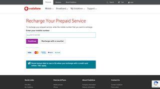 Recharge Your Prepaid Service | Vodafone Australia - My Vodafone