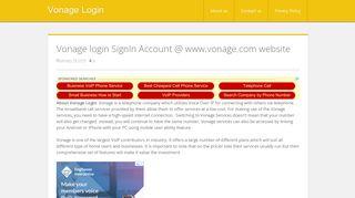 Vonage login SignIn Account @ www.vonage.com website