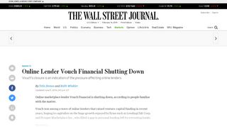 Online Lender Vouch Financial Shutting Down - WSJ