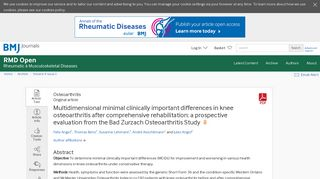 Multidimensional minimal clinically important differences in knee ...