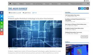 WeBank applies blockchain technology to its micro loan business