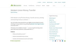 Western Union Money Transfer | Online Banking Services | Regions