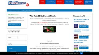 Wild Jack Casino   €5 No Deposit Mobile Bonus - Free Spins