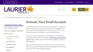 Activate Your Email Account - Wilfrid Laurier University