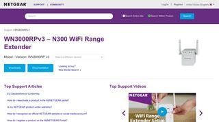 WN3000RPv3   N300 WiFi Range Extender   NETGEAR Support
