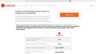 Wonga Loans – Apply at QuickQuid