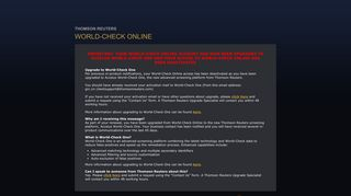 thomson reuters world-check online - World-Check Login
