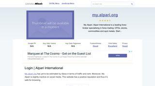 My.alpari.org website. Log in to myAlpari.