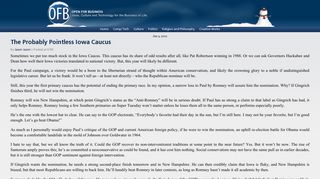 The Probably Pointless Iowa Caucus - OFB.biz: Open for Business