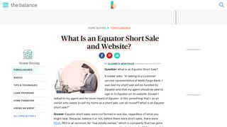 What is an Equator Short Sale? - The Balance
