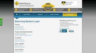 Returning Student Login - Defensive Driving