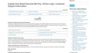 Capital One Retail Services Bill Pay, Online Login, Customer Support ...