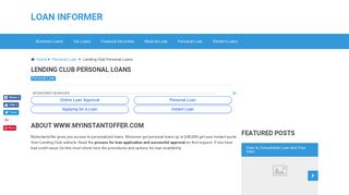 MyInstantoffer.com For preApproved Personal Loans - Lending Club