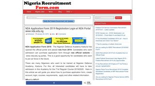 NDA Application Form 2019 71st Registration Login at Portal www ...
