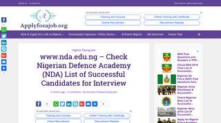 www.nda.edu.ng - Check Nigerian Defence Academy (NDA) List of ...