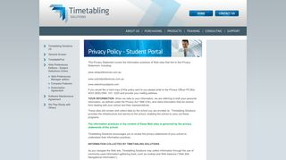 Timetabling - Privacy Policy - Student Portal