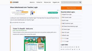 Www.tickettoread.com Teacher Login