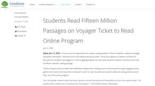 Students Read Fifteen Million Passages on Voyager Ticket to Read ...