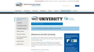 ACI University - American Concrete Institute